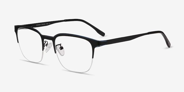 Fathom Blue Black Metal Eyeglass Frames from EyeBuyDirect, Angle View