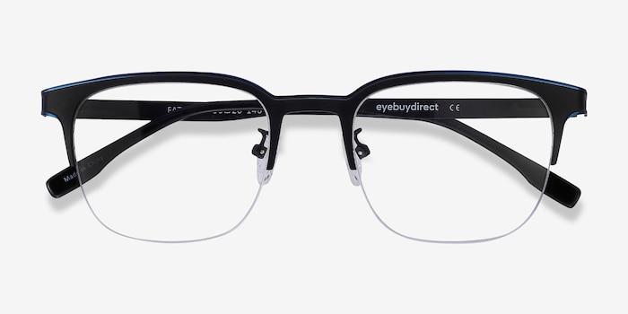 Fathom Blue Black Métal Montures de Lunettes d'EyeBuyDirect, Vue Rapprochée