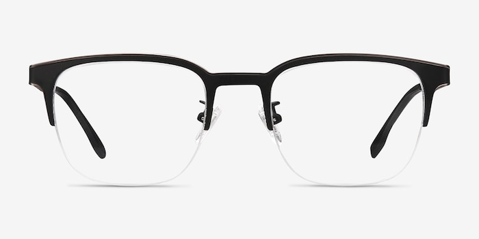 Fathom Gunmetal Black Metal Eyeglass Frames from EyeBuyDirect, Front View