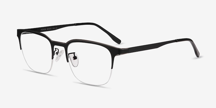 Fathom Gunmetal Black Metal Eyeglass Frames from EyeBuyDirect, Angle View