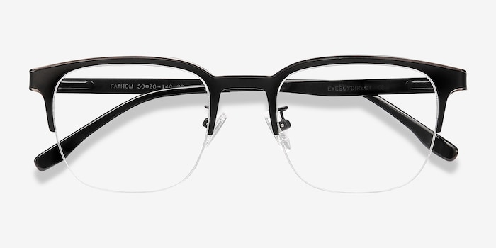 Fathom Gunmetal Black Metal Eyeglass Frames from EyeBuyDirect, Closed View