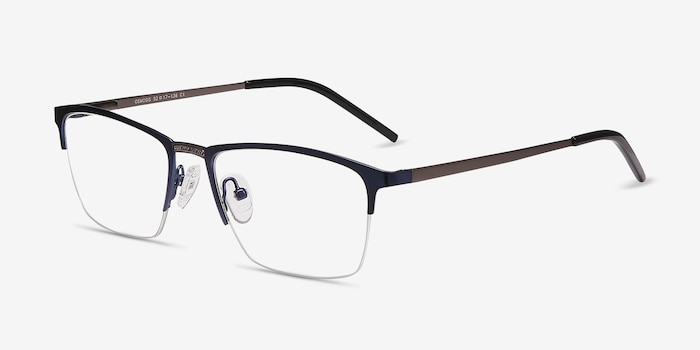 Osmosis Blue Metal Eyeglass Frames from EyeBuyDirect, Angle View