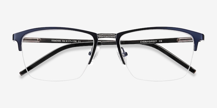 Osmosis Blue Metal Eyeglass Frames from EyeBuyDirect, Closed View