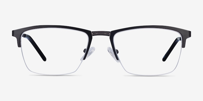 Osmosis Black Metal Eyeglass Frames from EyeBuyDirect, Front View