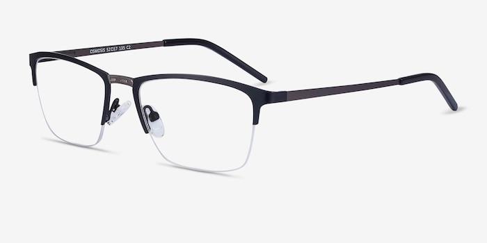 Osmosis Black Metal Eyeglass Frames from EyeBuyDirect, Angle View