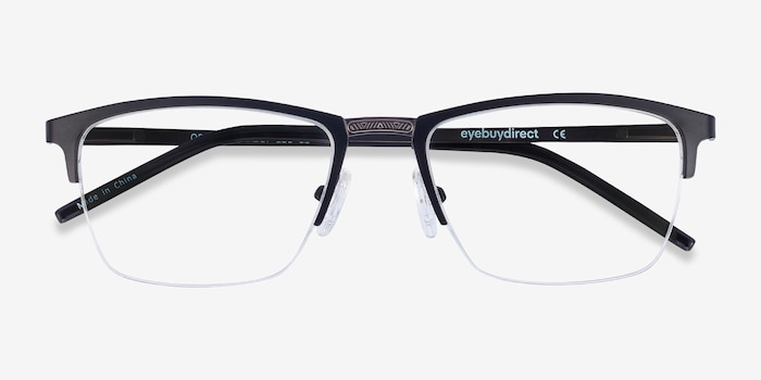 Osmosis Black Metal Eyeglass Frames from EyeBuyDirect, Closed View