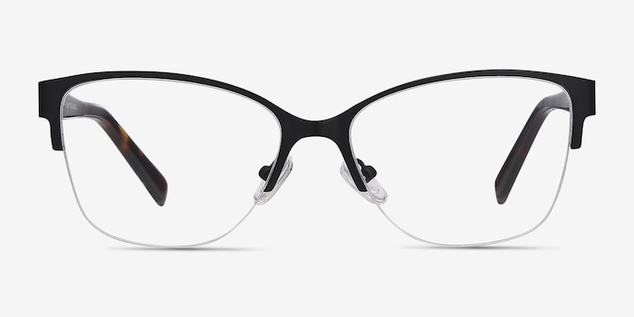 Feline Black Acetate Eyeglass Frames from EyeBuyDirect, Front View