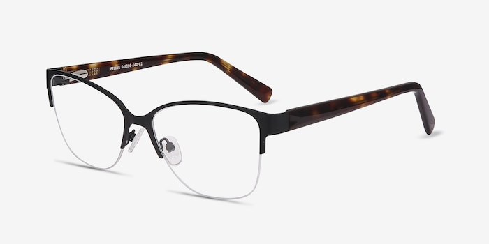 Feline Black Acetate Eyeglass Frames from EyeBuyDirect, Angle View