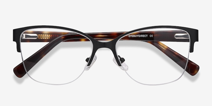 Feline Black Acetate Eyeglass Frames from EyeBuyDirect, Closed View