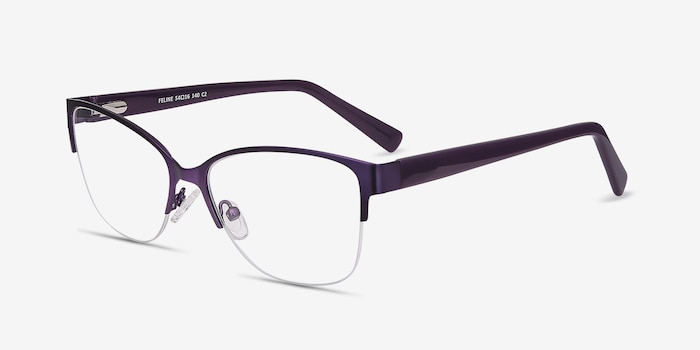 Feline Purple Acetate Eyeglass Frames from EyeBuyDirect, Angle View