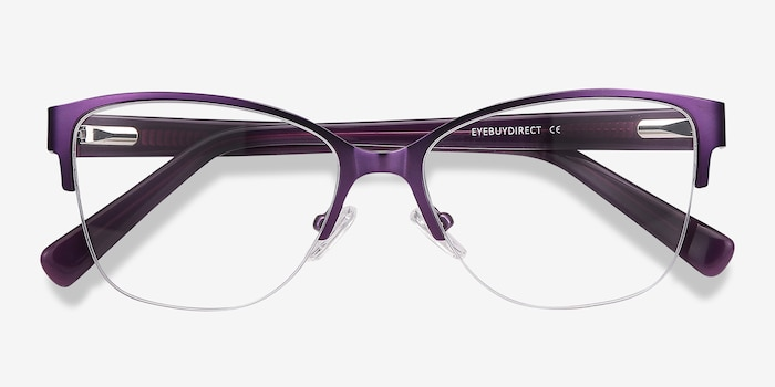 Feline Purple Acetate Eyeglass Frames from EyeBuyDirect, Closed View