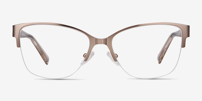 Feline Rose Gold Acetate Eyeglass Frames from EyeBuyDirect, Front View