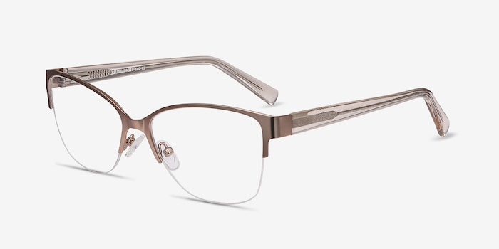 Feline Rose Gold Metal Eyeglass Frames from EyeBuyDirect, Angle View