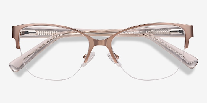 Feline Rose Gold Metal Eyeglass Frames from EyeBuyDirect, Closed View