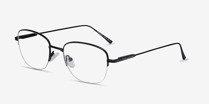 Navigator Black Metal Eyeglass Frames from EyeBuyDirect, Angle View