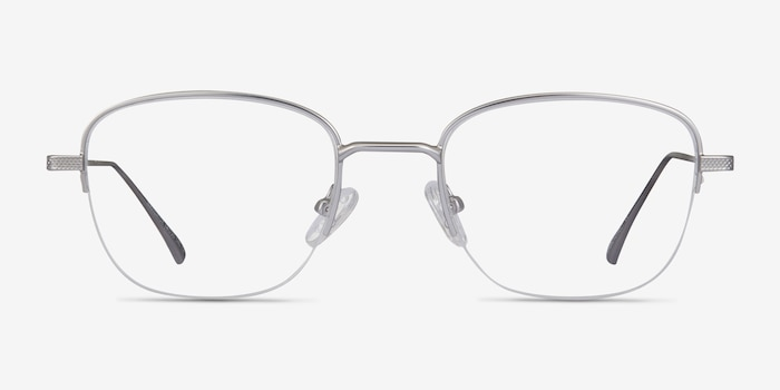 Navigator Silver Metal Eyeglass Frames from EyeBuyDirect, Front View
