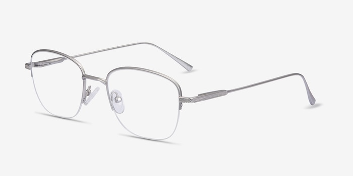 Navigator Silver Metal Eyeglass Frames from EyeBuyDirect, Angle View