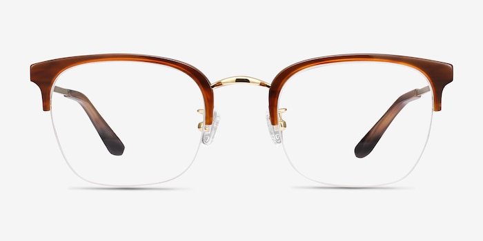 Curie Brown Acetate Eyeglass Frames from EyeBuyDirect, Front View