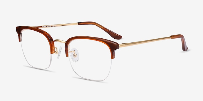 Curie Brown Acetate Eyeglass Frames from EyeBuyDirect, Angle View