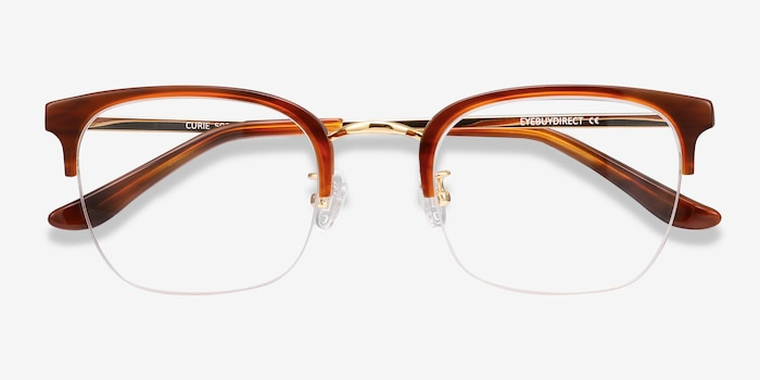 Curie Brown Acetate Eyeglass Frames from EyeBuyDirect, Closed View