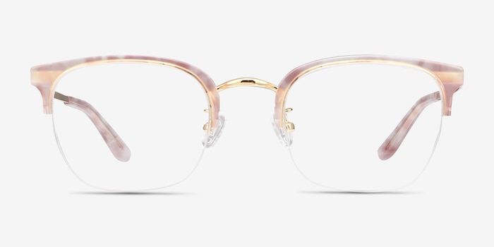 Curie Pink Acetate Eyeglass Frames from EyeBuyDirect, Front View