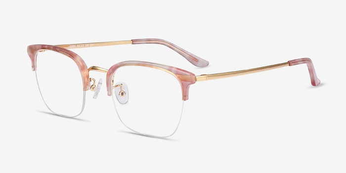 Curie Pink Metal Eyeglass Frames from EyeBuyDirect, Angle View