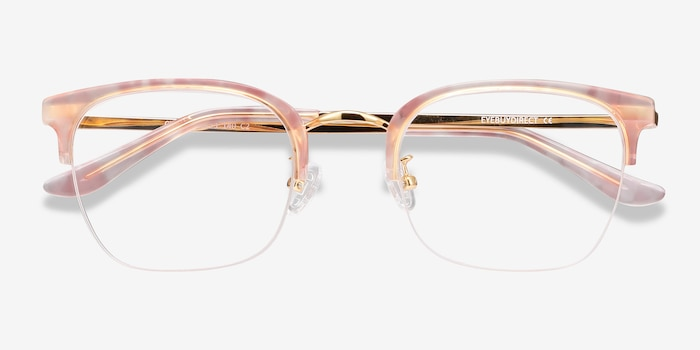 Curie Pink Metal Eyeglass Frames from EyeBuyDirect, Closed View
