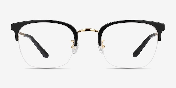 Curie Black Acetate Eyeglass Frames from EyeBuyDirect, Front View