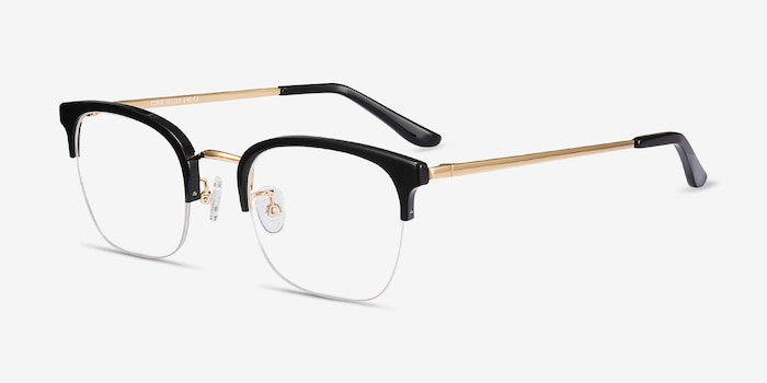 Curie Black Metal Eyeglass Frames from EyeBuyDirect, Angle View