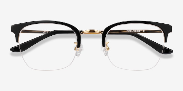 Curie Black Metal Eyeglass Frames from EyeBuyDirect, Closed View
