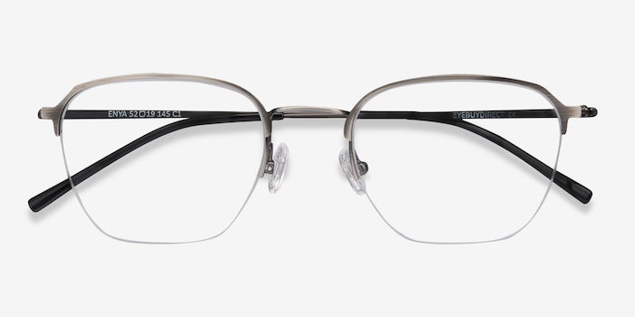 Enya Gunmetal Metal Eyeglass Frames from EyeBuyDirect, Closed View