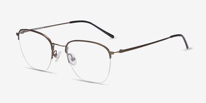 Enya Bronze Metal Eyeglass Frames from EyeBuyDirect, Angle View