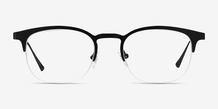 Hemisphere Black Metal Eyeglass Frames from EyeBuyDirect, Front View