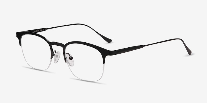 Hemisphere Black Metal Eyeglass Frames from EyeBuyDirect, Angle View