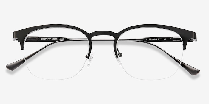 Hemisphere Black Metal Eyeglass Frames from EyeBuyDirect, Closed View