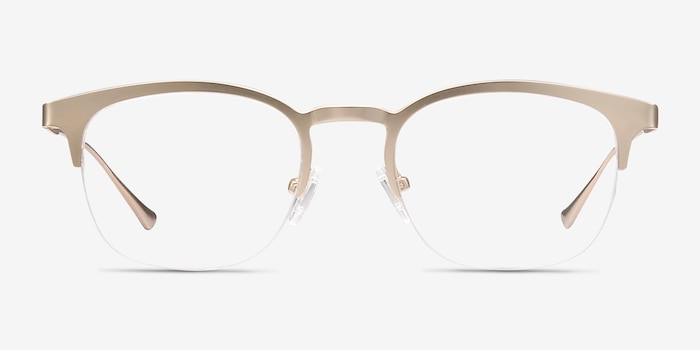 Hemisphere Rose Gold Metal Eyeglass Frames from EyeBuyDirect, Front View