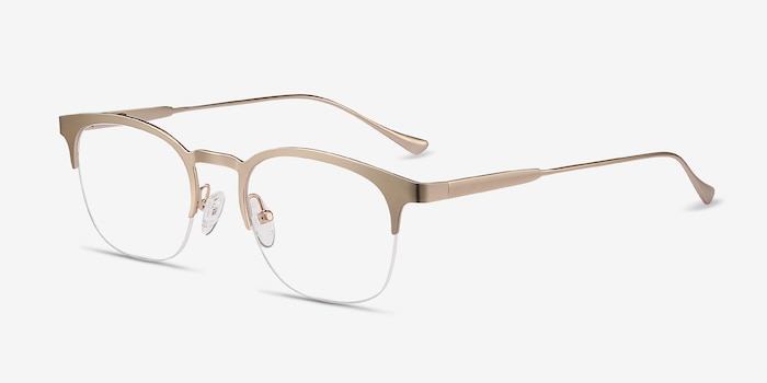 Hemisphere Rose Gold Metal Eyeglass Frames from EyeBuyDirect, Angle View