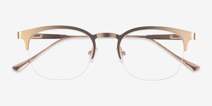 Hemisphere Rose Gold Metal Eyeglass Frames from EyeBuyDirect, Closed View