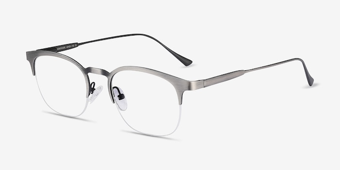 Hemisphere Gunmetal Metal Eyeglass Frames from EyeBuyDirect, Angle View