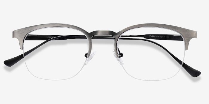 Hemisphere Gunmetal Metal Eyeglass Frames from EyeBuyDirect, Closed View