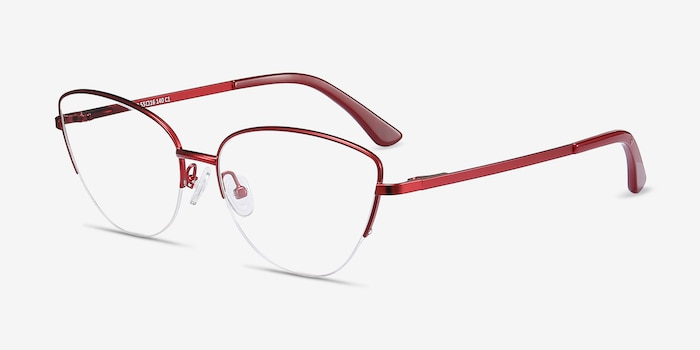 Star Burgundy Metal Eyeglass Frames from EyeBuyDirect, Angle View