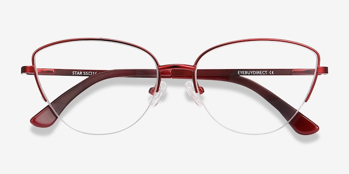 Star Burgundy Metal Eyeglass Frames from EyeBuyDirect, Closed View