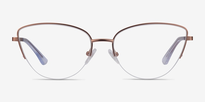 Star Rose Gold Metal Eyeglass Frames from EyeBuyDirect, Front View