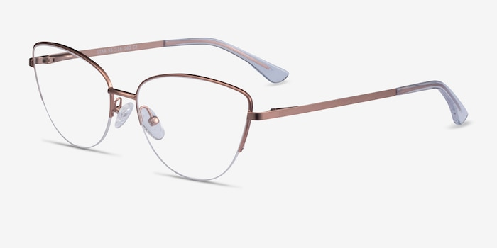 Star Rose Gold Metal Eyeglass Frames from EyeBuyDirect, Angle View