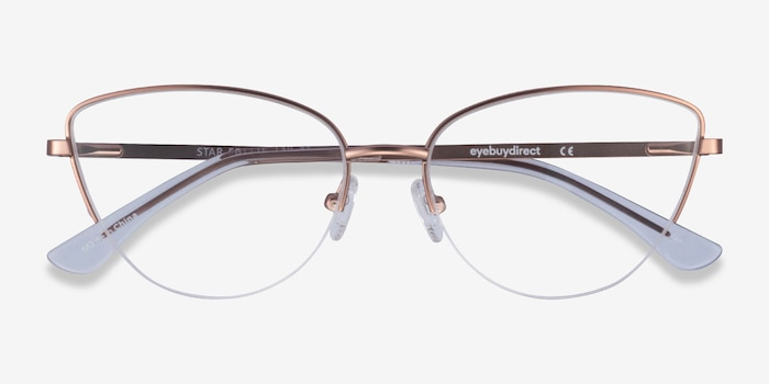 Star Rose Gold Metal Eyeglass Frames from EyeBuyDirect, Closed View