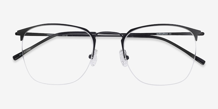 Urban Black Metal Eyeglass Frames from EyeBuyDirect, Closed View
