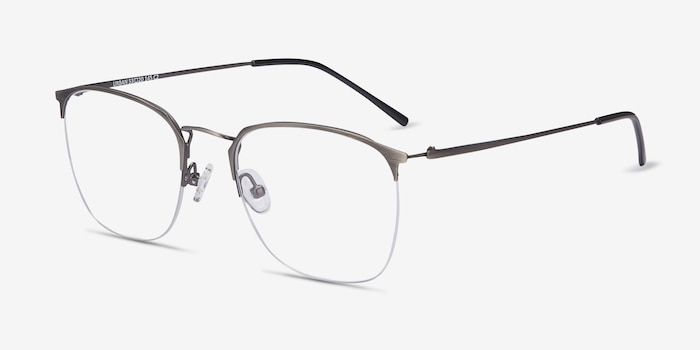 Urban Gunmetal Metal Eyeglass Frames from EyeBuyDirect, Angle View