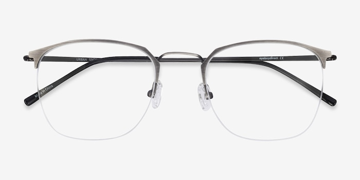 Urban Gunmetal Metal Eyeglass Frames from EyeBuyDirect, Closed View