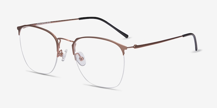 Urban Rose Gold Metal Eyeglass Frames from EyeBuyDirect, Angle View