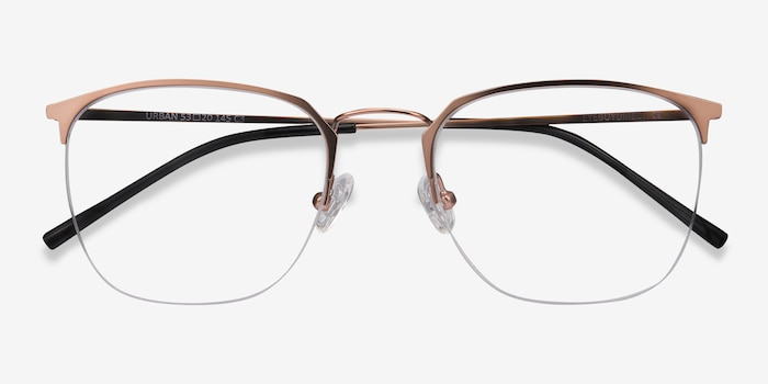 Urban Rose Gold Metal Eyeglass Frames from EyeBuyDirect, Closed View
